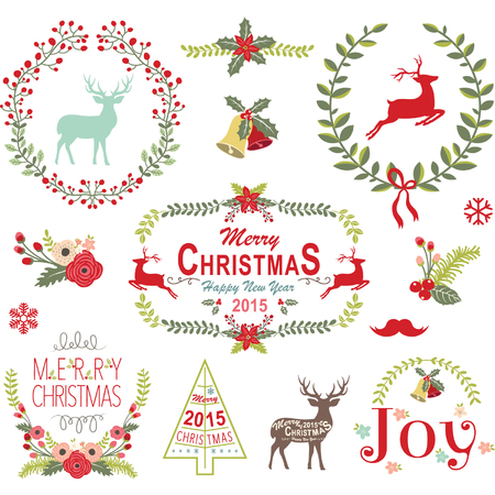Illustration pour Christmas Wreath Frame Collection - image libre de droit