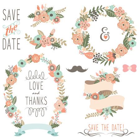 Illustration pour Rustic Wedding Flowers Wreath - image libre de droit