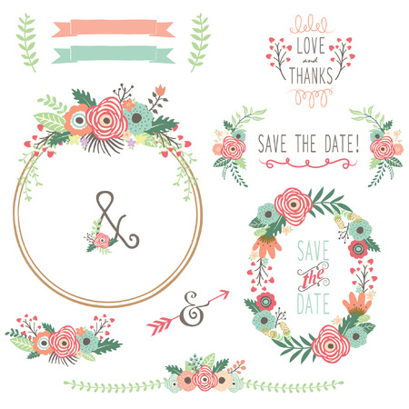 Illustration pour Vintage Flower Wreath - image libre de droit