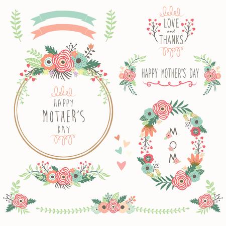 Illustration pour Floral Mother's Day Elements - image libre de droit