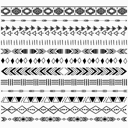 Illustration pour Digital Aztec Borders Elements - image libre de droit