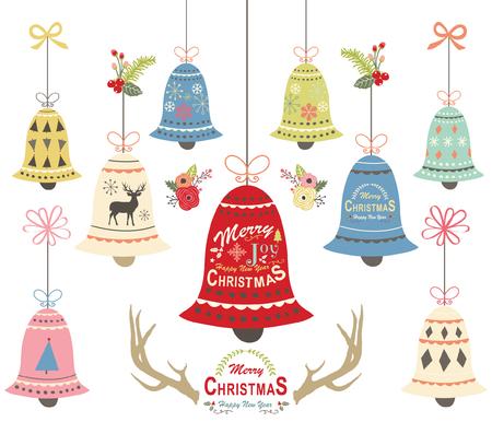 Ilustración de Christmas bell ornament collections vector illustration - Imagen libre de derechos