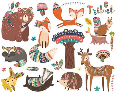 Illustration pour Woodland Tribal Animal Collections Set - image libre de droit