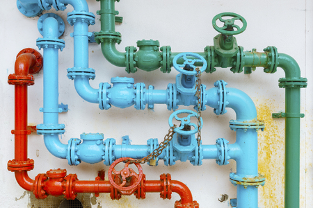 Foto de colorful pipe for water piping system - Imagen libre de derechos
