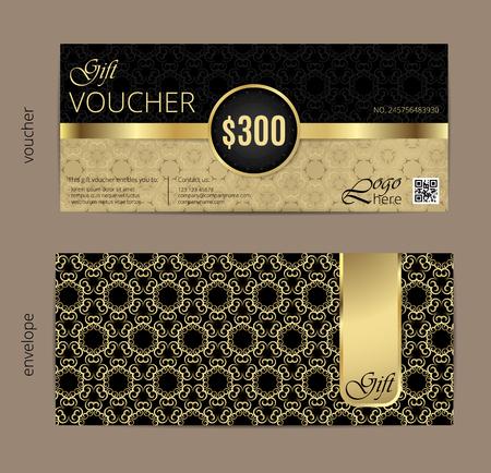 Illustration pour Vector illustration,Gift voucher template with clean and modern pattern. - image libre de droit