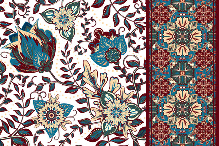 Illustration for Set of seamless floral pattern and border for design. Hand draw vector Illustration. Seamless background with flowers. - Royalty Free Image