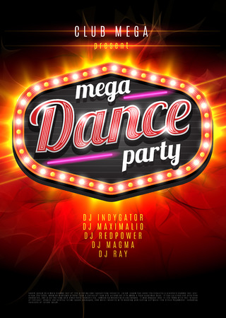Ilustración de Neon sign mega Dance party in light frame on red  flame background. Vector illustration. - Imagen libre de derechos