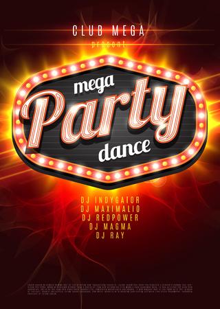 Ilustración de Mega Party Dance Poster Background Template with retro light frame on red flame background - Vector Illustration - Imagen libre de derechos