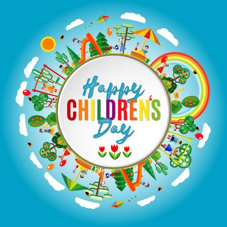 Illustration pour happy children's day. Vector illustration of Universal Children day poster. Childrens day background. - image libre de droit