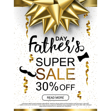 Illustration pour Happy Fathers Day white background template with gold bow for promotion banner, ads, flyers, invitation, posters, brochure, discount, sale offers. Vector illustration - image libre de droit