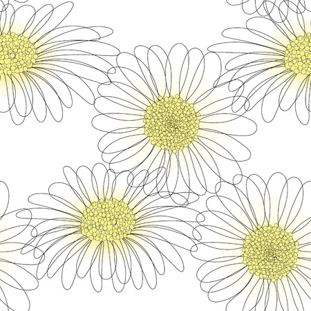 Illustration pour vector seamless pattern with drawing daisy flower, floral background, hand drawn botanical illustration - image libre de droit