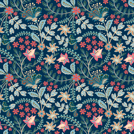 Ilustración de Retro hand draw flower pattern in the many kind of florals. Botanical Motifs scattered random. Seamless vector texture. For fashion prints. Printing with in hand drawn style on white background. - Imagen libre de derechos