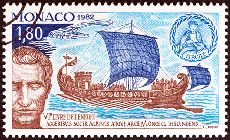 Foto de MONACO - CIRCA 1982: A stamp printed in Monaco issued for the 2000th anniversary of the death of Virgil shows Julius Caesar in the Port of Monaco, circa 1982. - Imagen libre de derechos