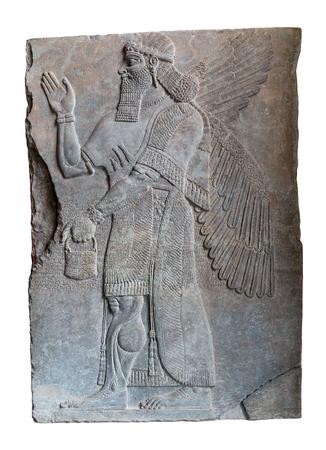 Photo pour Assyrian art on the wall, King Ashurnasirpal II. - image libre de droit