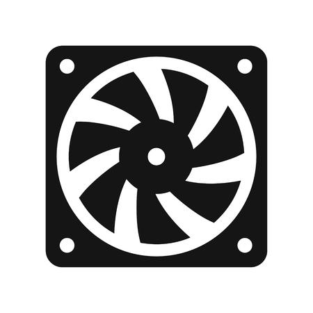 Ilustración de Computer cooler black icon, PC hardware fan, vector illustration isolated on white background - Imagen libre de derechos