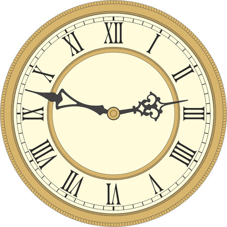 Illustration pour Vector image of a round, old clock with Roman numerals. - image libre de droit