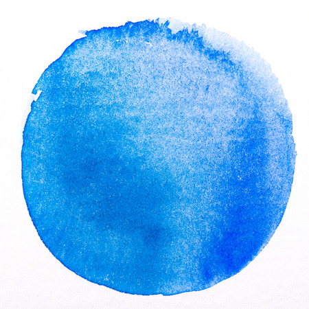 Photo pour Art watercolor blue circle paint stain isolated on white rough texture paper background with clipping Path - image libre de droit