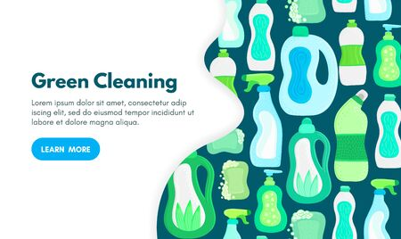Ilustración de Vector background with eco friendly household cleaning supplies. Natural detergents. Landing page template. Products for house washing. Green home. Online store. Banner, mailing, advertising, label - Imagen libre de derechos