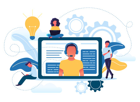 Illustration pour Vector illustration concept of young people use online technical support. Customer service, male hotline operator advises clients. Customer and operator. - image libre de droit