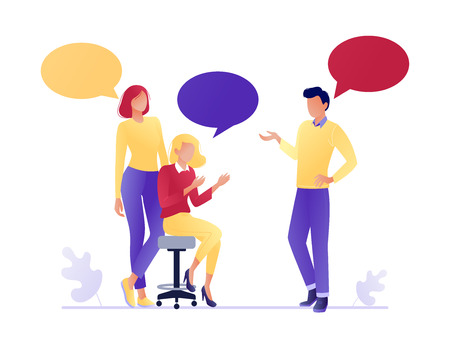 Illustrazione per Vector illustration of flat people talking together. Businessmen and women discuss social networks, news. Chat, dialogue speech bubbles. Teamwork, searching for idea. Flat concept vector illustration - Immagini Royalty Free