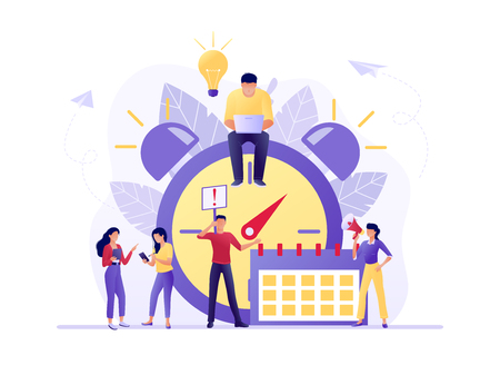 Ilustración de Time management, Deadline with small people around the large watch and calendar. Concept of term and time, planning. Vector flat illustration. Flat concept vector illustration for web, landing page - Imagen libre de derechos