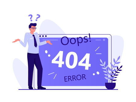 Illustrazione per Error 404, page not found, disconnection from the Internet, unavailable page. Man is standing near big computer screen, Flat vector concept illustration isolated on white - Immagini Royalty Free