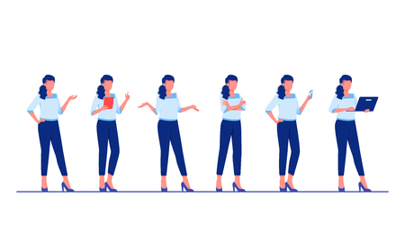 Illustration pour Set of business characters poses and actions. Businesswoman is standing in different poses. Flat vector illustration - image libre de droit