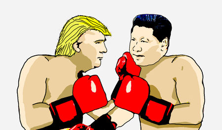 Photo pour Editorial Illustration of Trump versus China - Xi Jimping - image libre de droit
