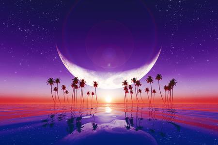 Foto de big moon over purple sunset at tropical sea with stars - Imagen libre de derechos