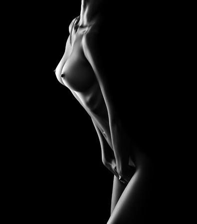 Photo pour beautiful naked female body on black background - image libre de droit