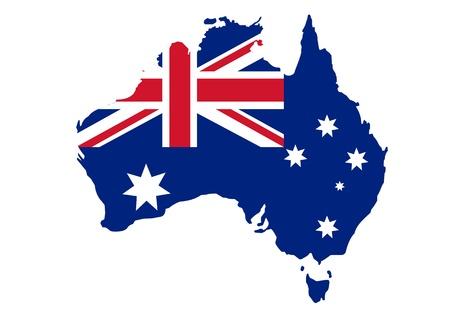 Illustration for Map of Australia in Australian flag colors - Royalty Free Image