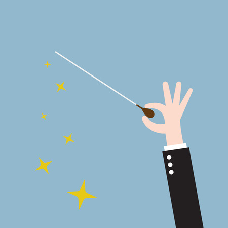 Illustration for music orchestra conductor hand with baton, leadership. vector illustration - Royalty Free Image