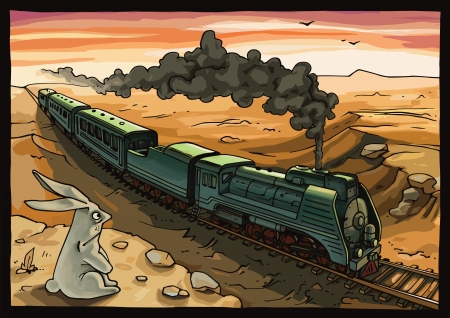 Illustration pour Wild rabbit looking at the moving train with a steam locomotive in a desert. - image libre de droit