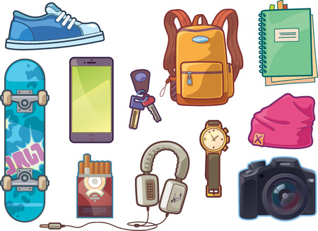 Ilustración de The set of the different vector objects. There are: sneaker, watch, keys, smartphone, DSLR camera, headphones, skateboard deck, backpack, beanie headwear,  notepad with a bookmarks and a pack of сigarettes. - Imagen libre de derechos