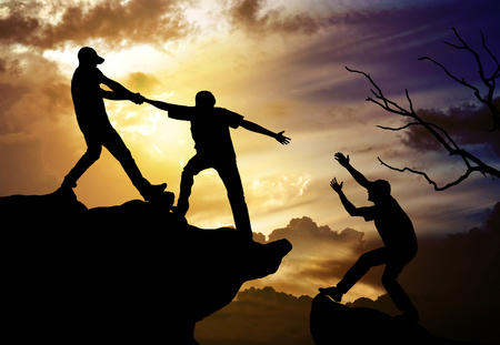Foto de climbing helping team work , success concept - Imagen libre de derechos