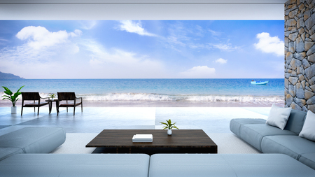 Foto de modern room interior  near beach with  sky and sea view /3d render - Imagen libre de derechos