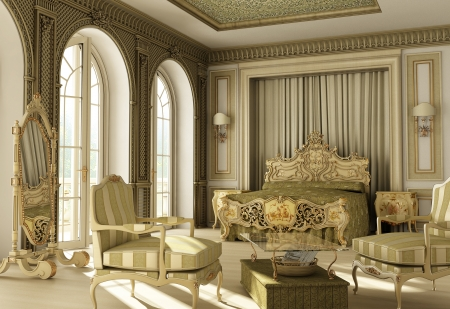 3D rendering of a luxury rococo bedroom with double window on balcony.