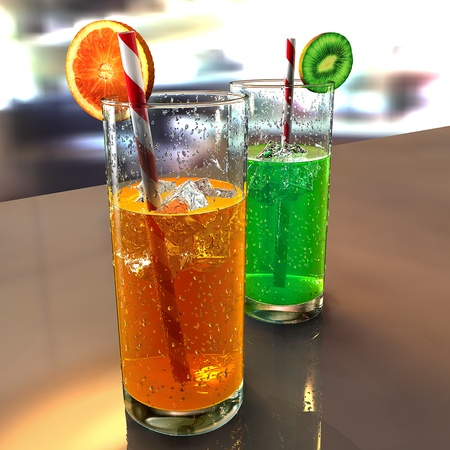 two glasses on a table with droplets, colored liquids, straws, ice cubes and fruits