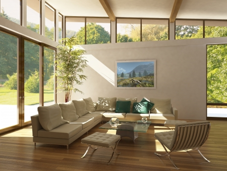 modern living-room with large windows, wooden floor and plant. Green and trees outside.