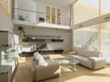 Modern living-room with large windows.