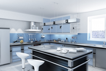 Modern kitchen with isle with stools and dishes and mugs
