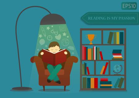 Illustration pour Boy reading book and imagine near stand with books. - image libre de droit