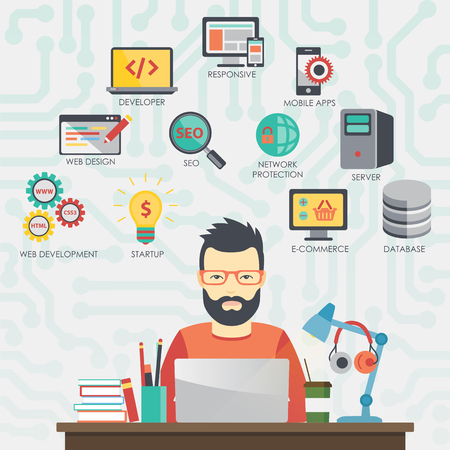 Ilustración de Man programmer is working on his laptop. Programming. - Imagen libre de derechos