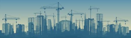 Illustration pour Wide banner illustration of buildings under construction in process. - image libre de droit