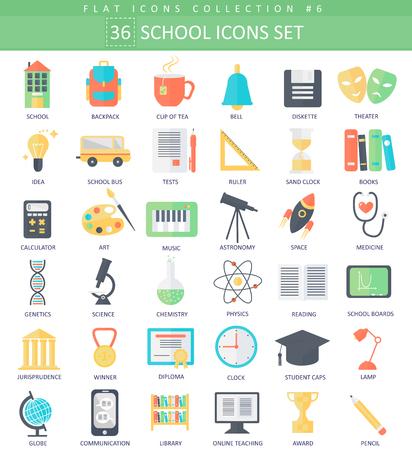 Illustration pour school color flat icon set. Elegant style design - image libre de droit
