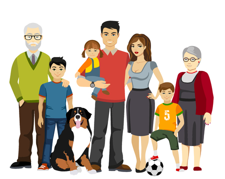 Big and Happy Family illustration isolated