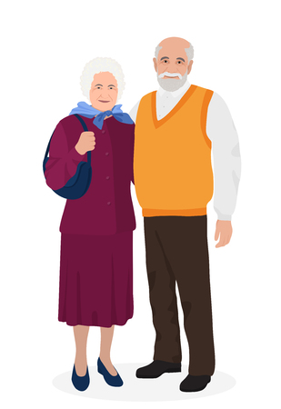Illustration for Happy grandfather and grandmother standing together. Old people in family - Royalty Free Image