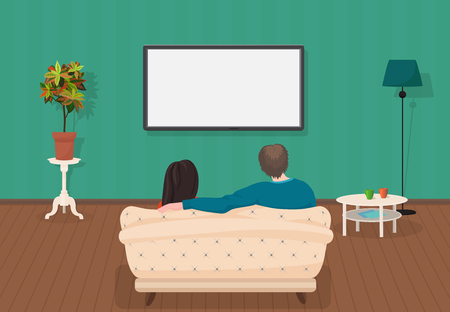 Illustration pour Young family man and women watching TV program together in the living room. Vector illustration - image libre de droit