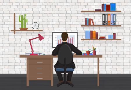 Ilustración de Back view of Business Man working on desktop computer in the modern office - Imagen libre de derechos