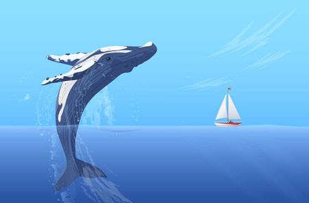 Illustration for Jump humpback big huge whale near small boat ship yacht. Hidden ocean power - Royalty Free Image
